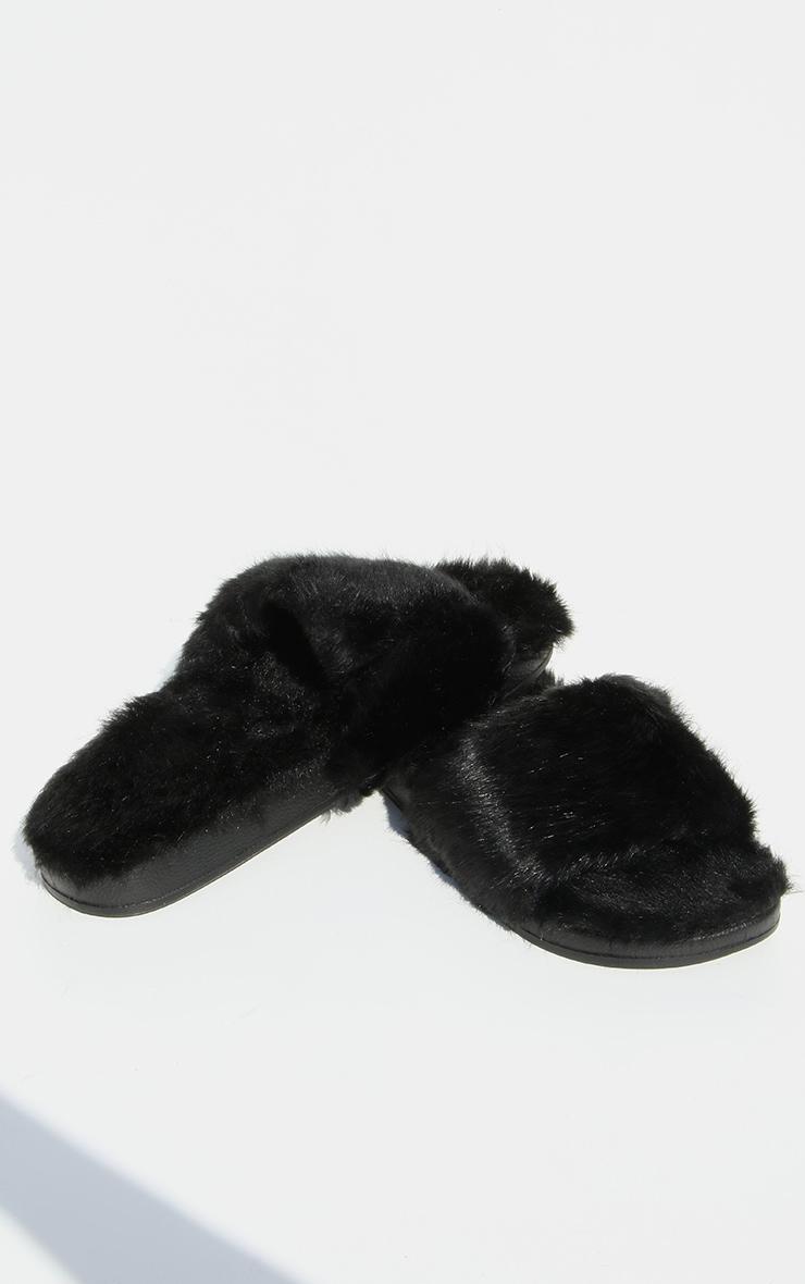 Black All Over Faux Fur Flatform Slides 3