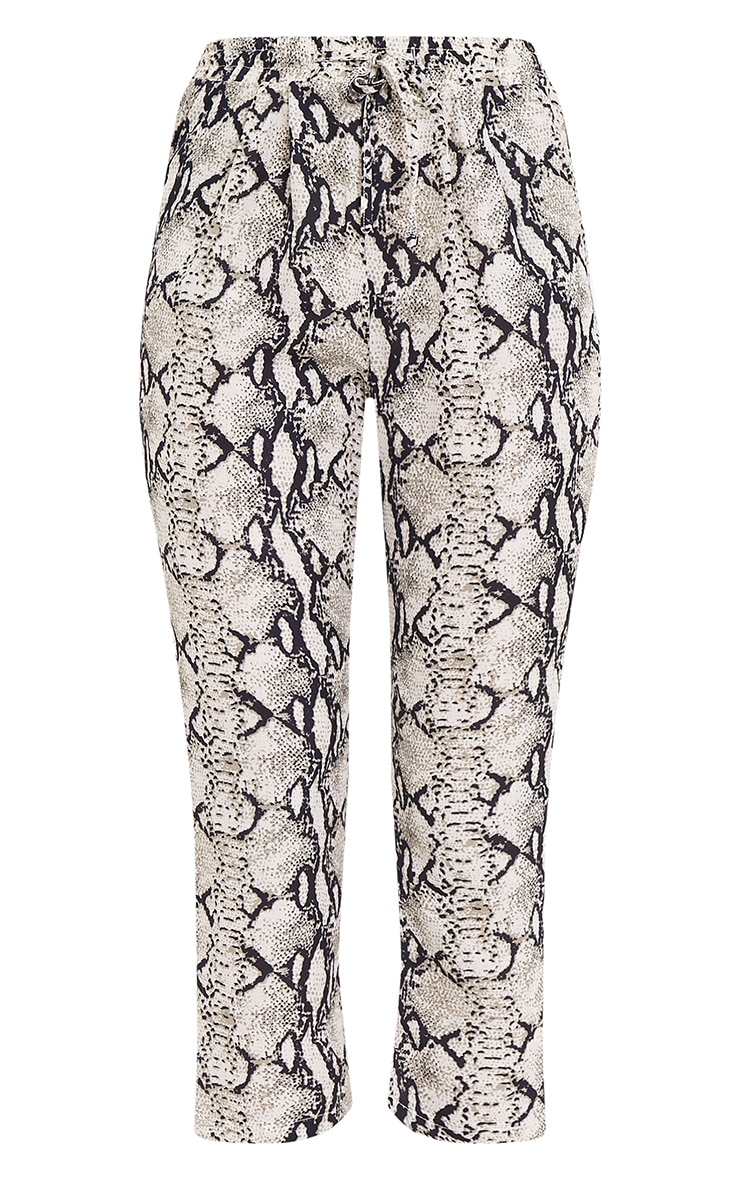Diya Cream Snake Print Cropped Trousers 3