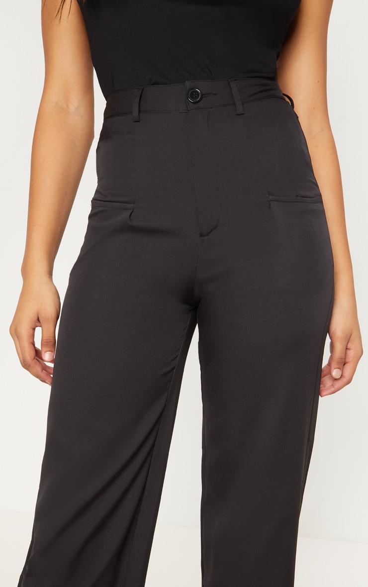Tall Black Pocket Detail Wide Leg Pants 5