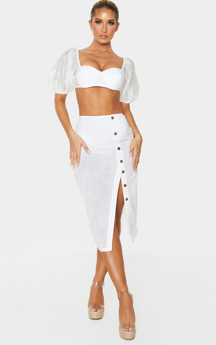 White Button Down Beach Skirt 1
