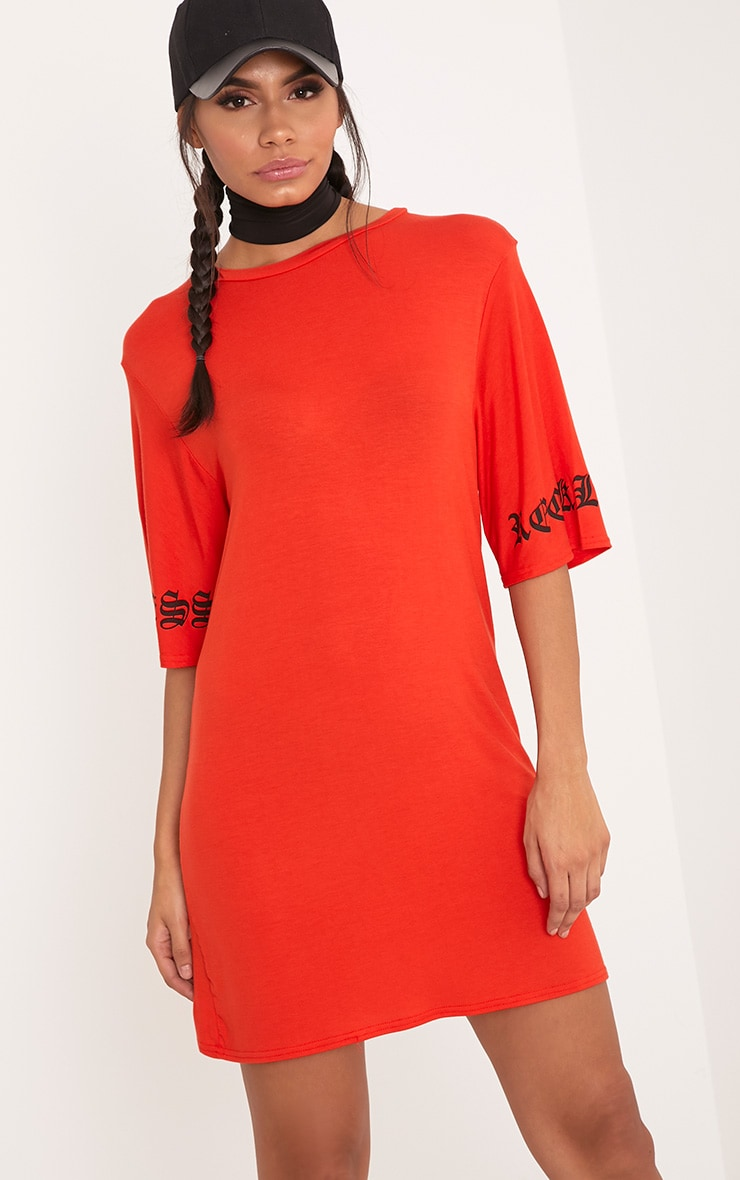 Reckless Print T Shirt Dress Orange 1