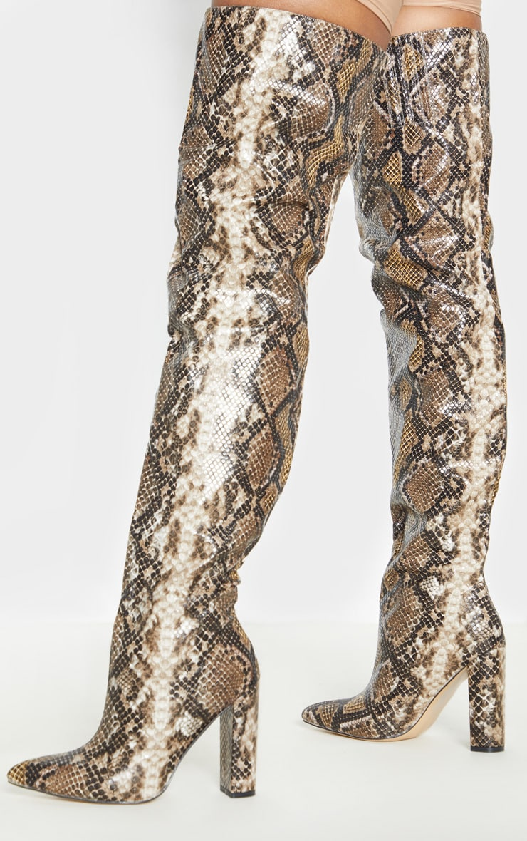 Snake Thigh High Point Block Heel Boot 2