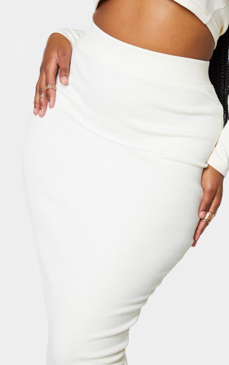 Shape Cream Ribbed Midi Skirt 5