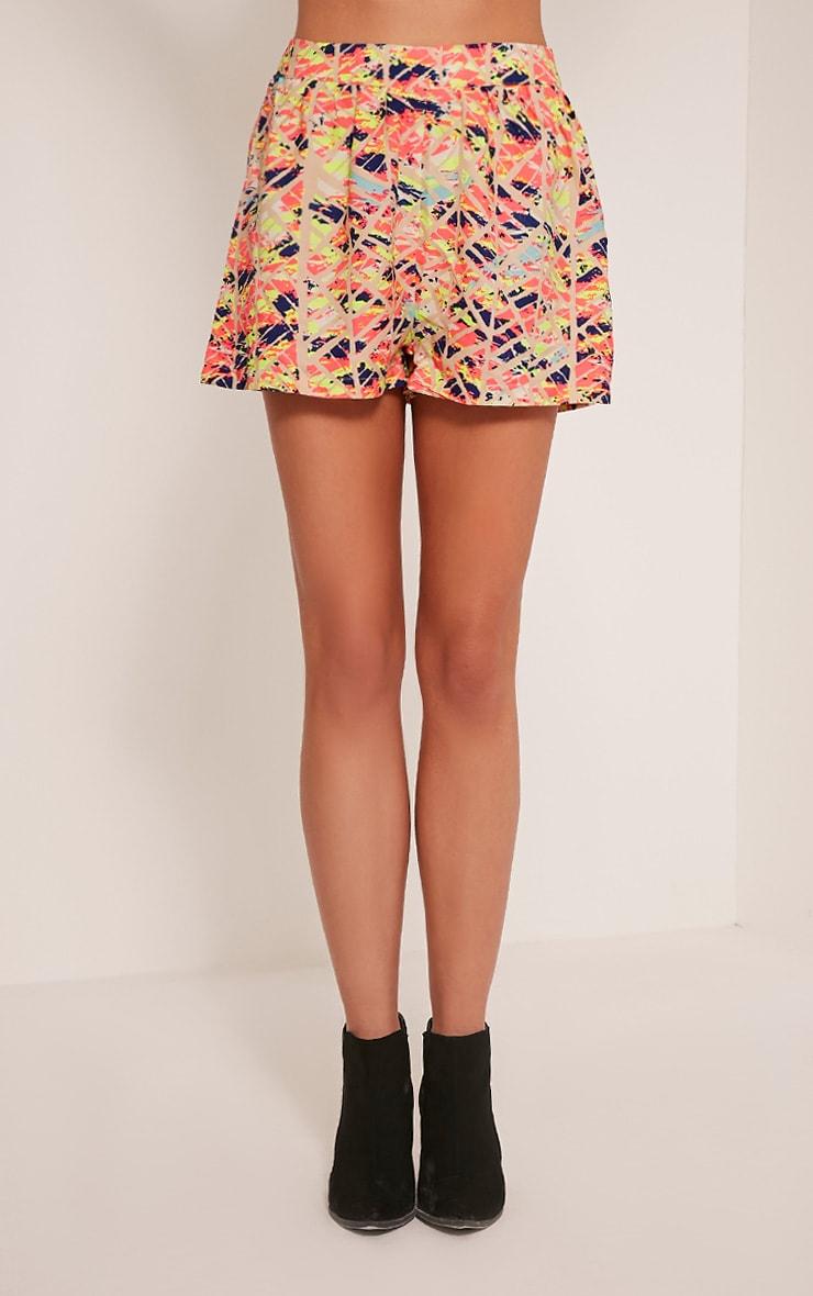 Vivana Nude Abstract Print Shorts 2