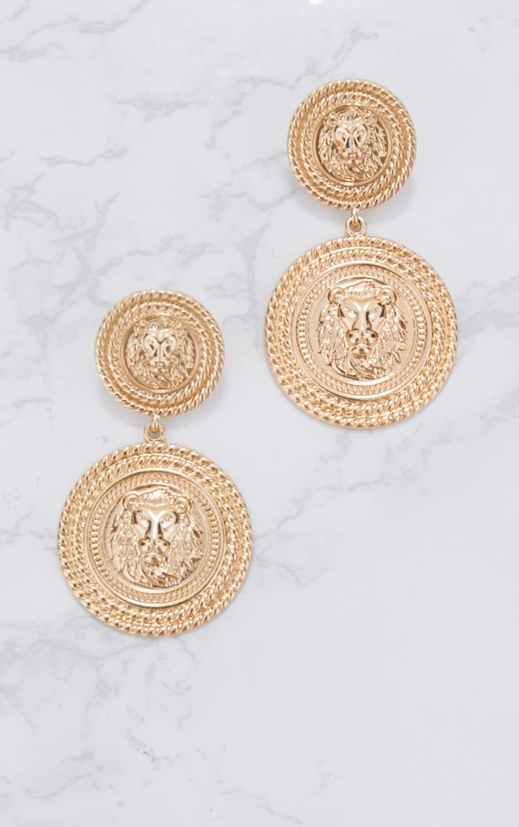 Gold Double Medallion Drop Earrings 3