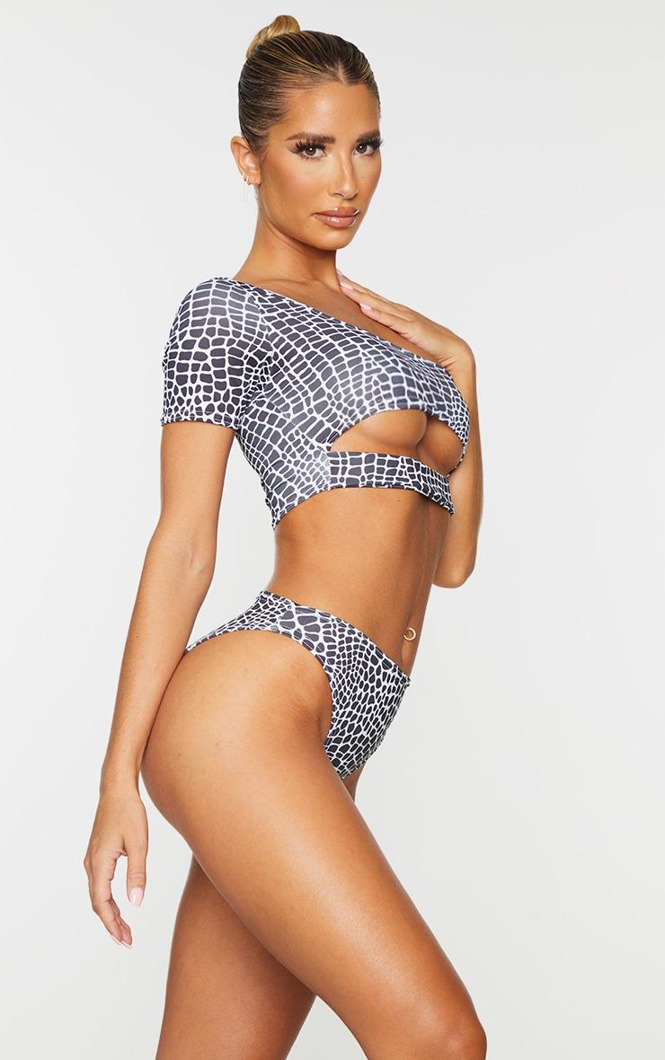 Bas de bikini échancré cheeky noir & blanc imprimé serpent 2