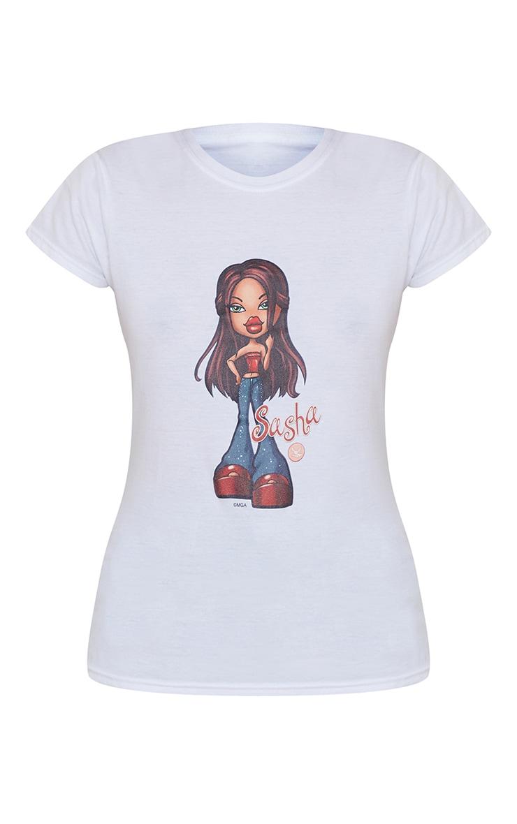White Sasha Bratz Fitted T Shirt 5