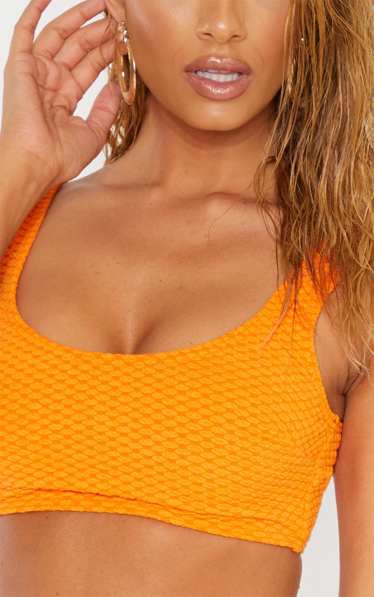 Orange Bubble Textured Scoop Neck Bikini Top 5