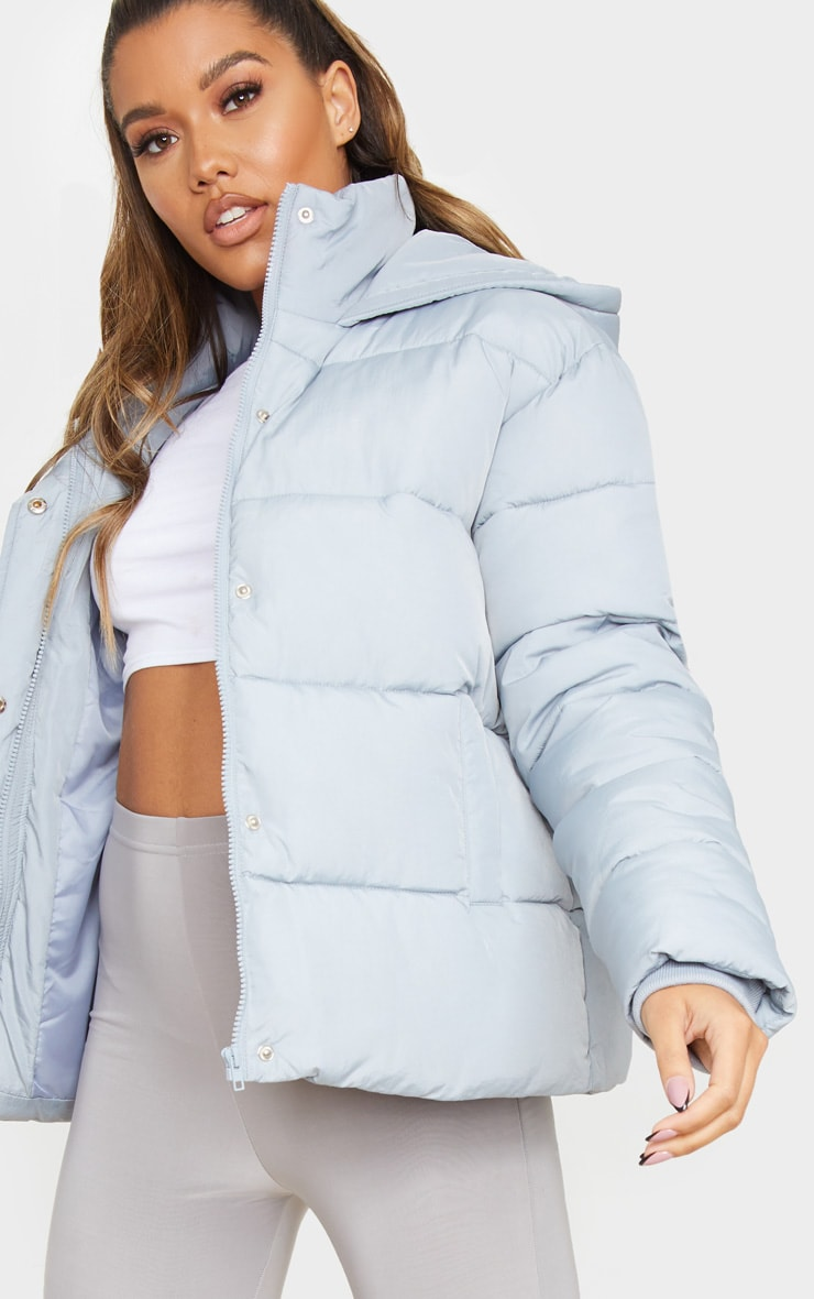 Light Grey Padded Panel Puffer Hooded Jacket 4
