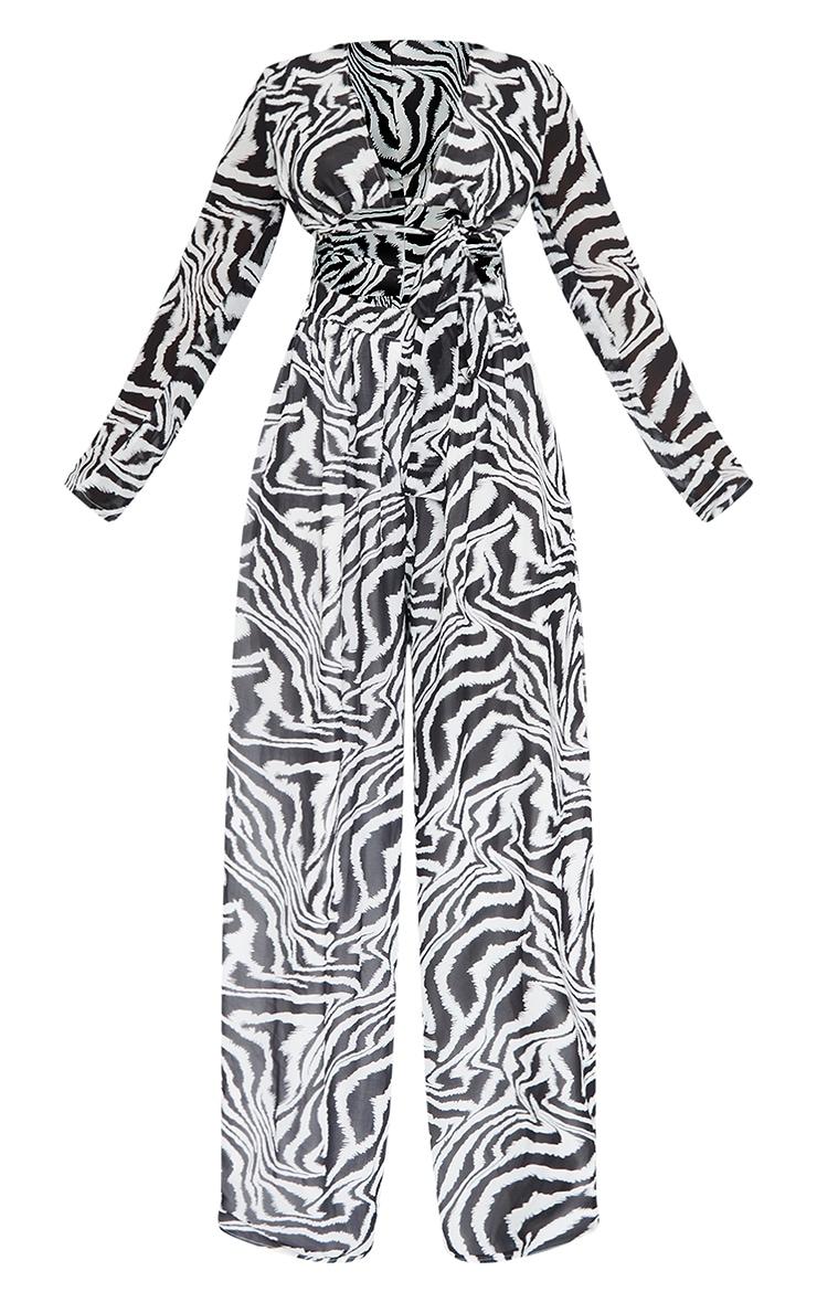 Monochrome Zebra Print Tie Bust Long Sleeve Jumpsuit 5