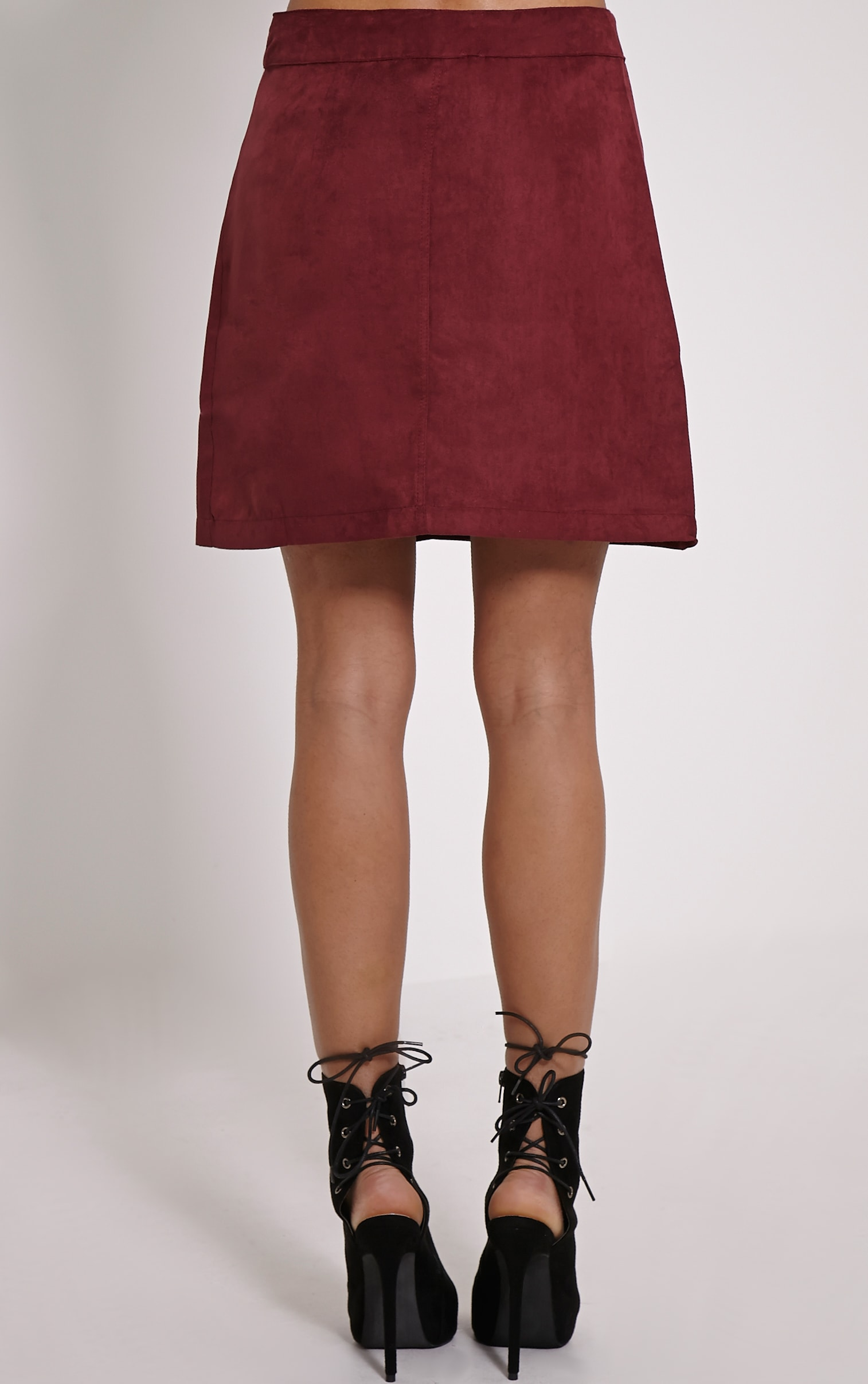 Cheryl Oxblood Suede Button Front Skirt 4