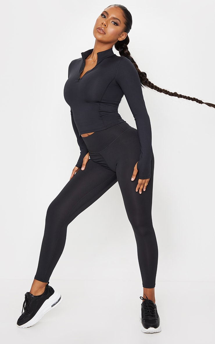 Black Brushed Luxe High Waist Cropped Gym Leggings 1