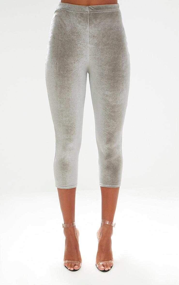 Grey Cropped Velvet Leggings 2