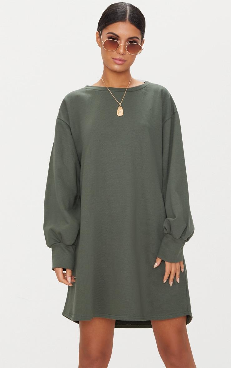Khaki Oversized Sweater Dress 1