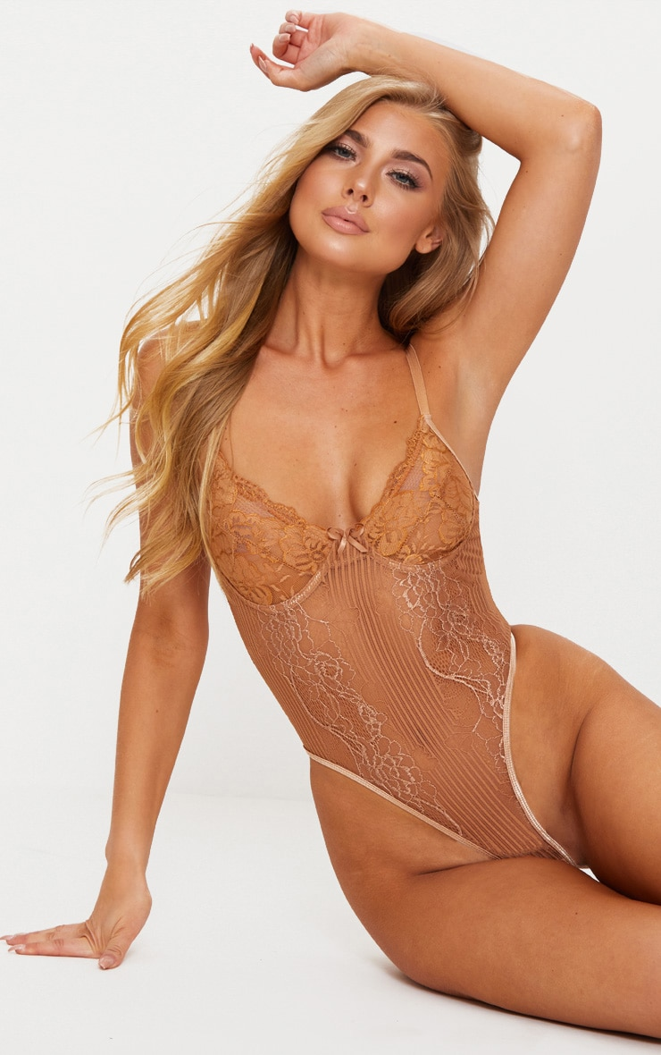 Mocha Lace Insert High Leg Cupped Body 1