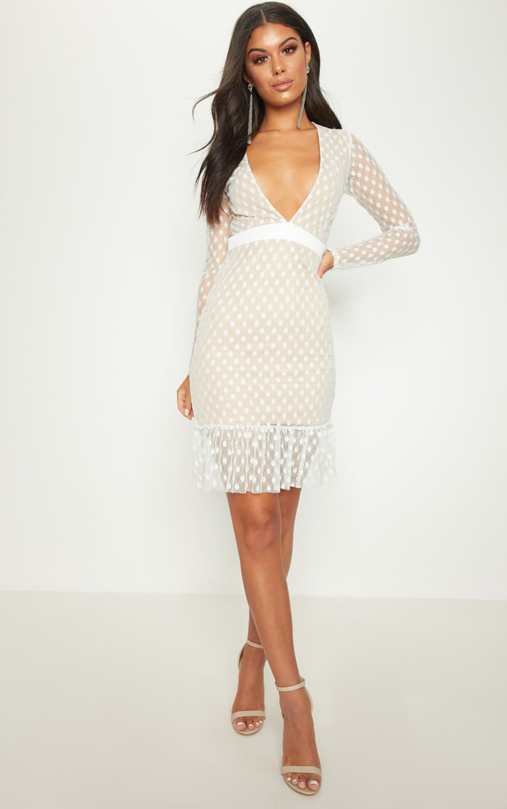 White Spotty Mesh Frill Hem Bodycon Dress 4