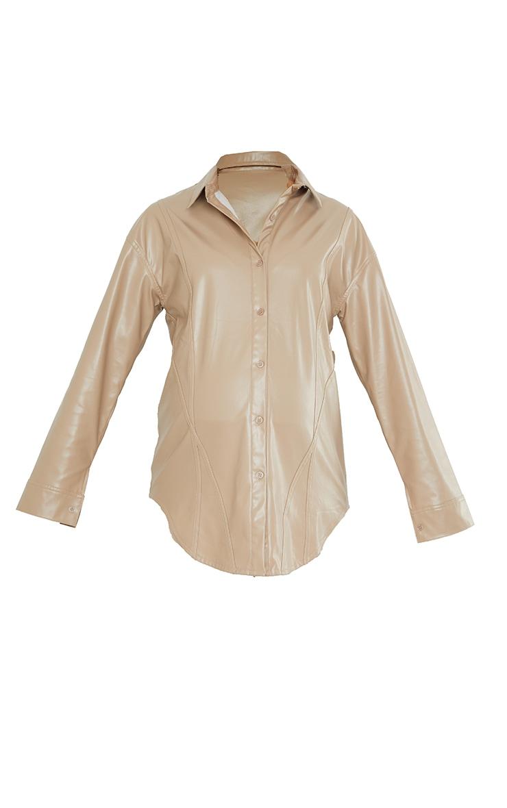 Maternity Stone Bump Seam Detail Faux Leather Shirt 5