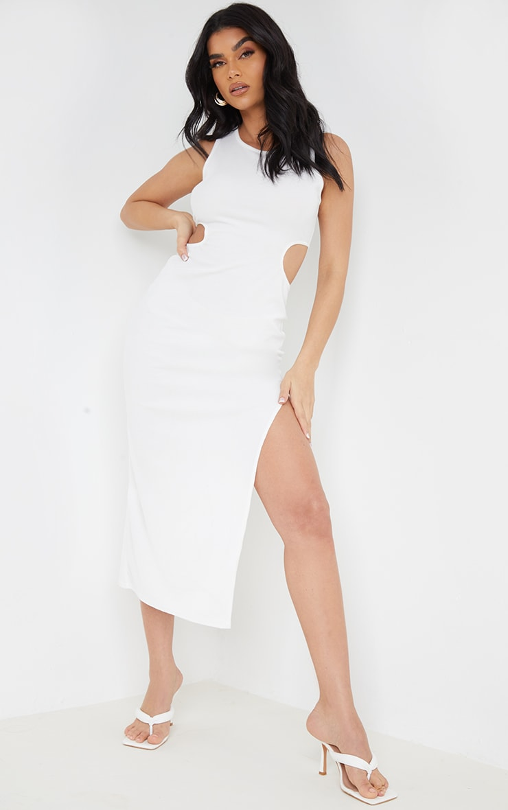Cream Ribbed Waist Cut Out Sleeveless Split Hem Midaxi Dress 1