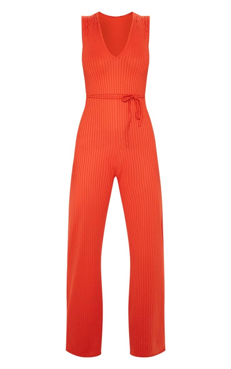 Rust Ribbed Tie Waist Wide Leg Jumpsuit 3