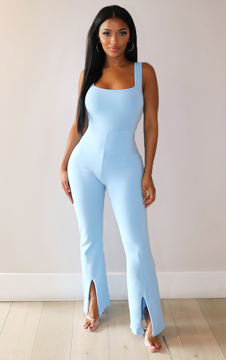 Shape Dusty Blue Cotton Square Neck Split Front Jumpsuit 1