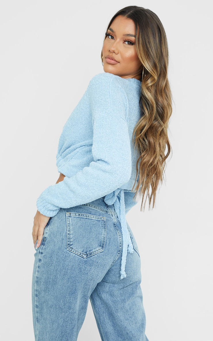 Baby Blue Drawstring Knitted Boucle Crop Sweater 2