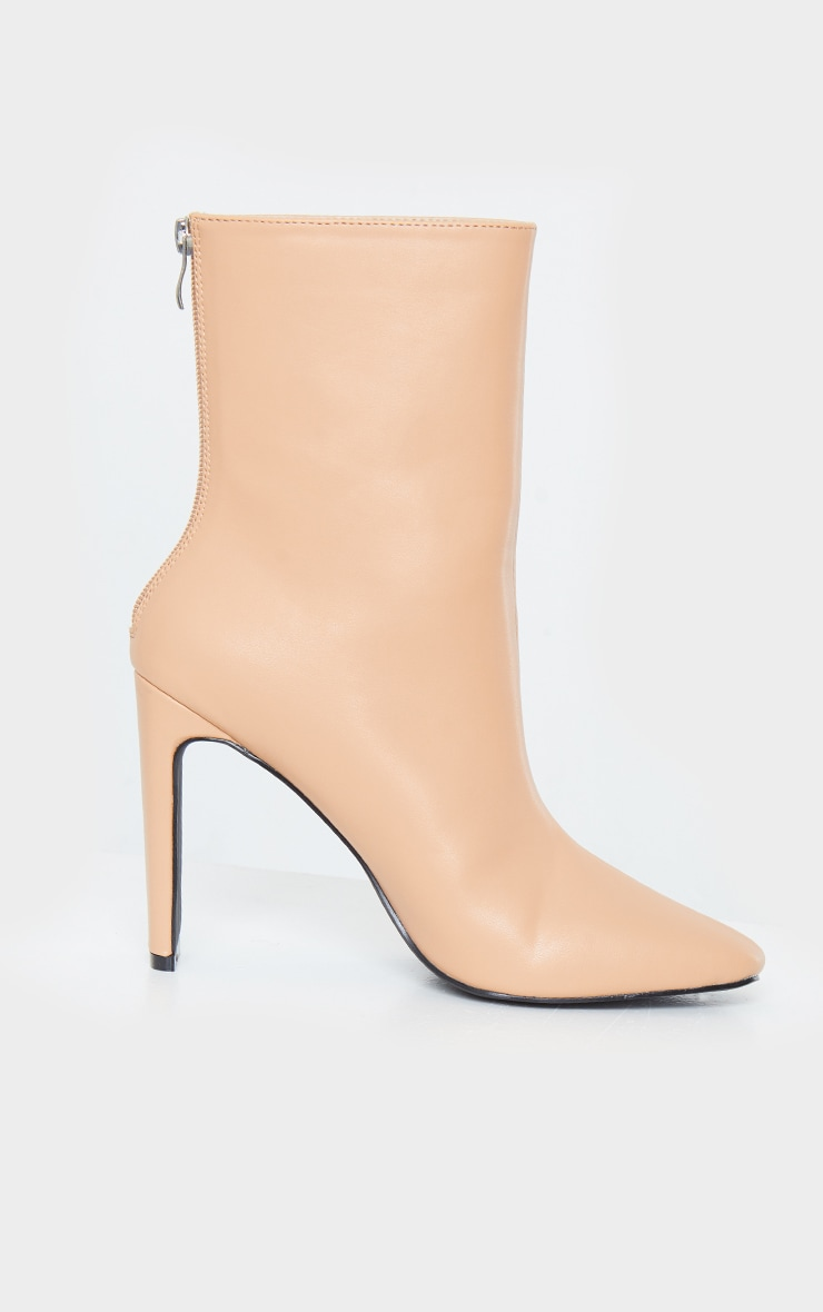 Tan High Flat Heel Ankle Boots 4