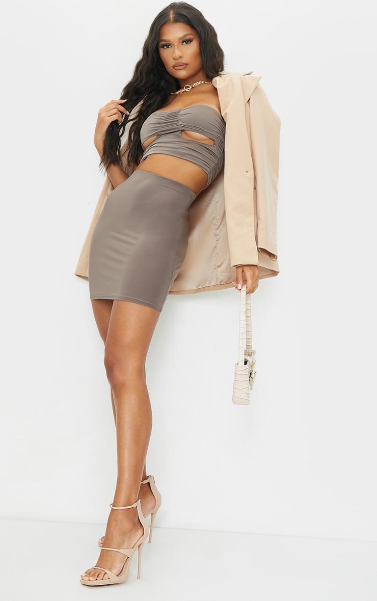 Mocha Slinky Bodycon Mini Skirt 1