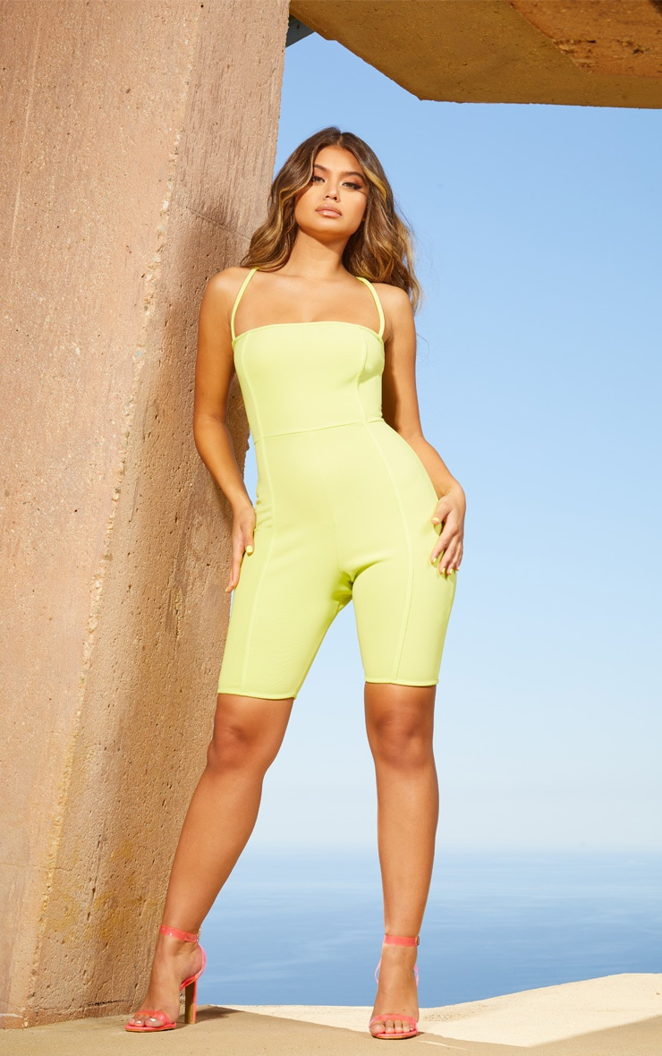 Lime Second Skin Straight Neck Binding Detail Unitard 4