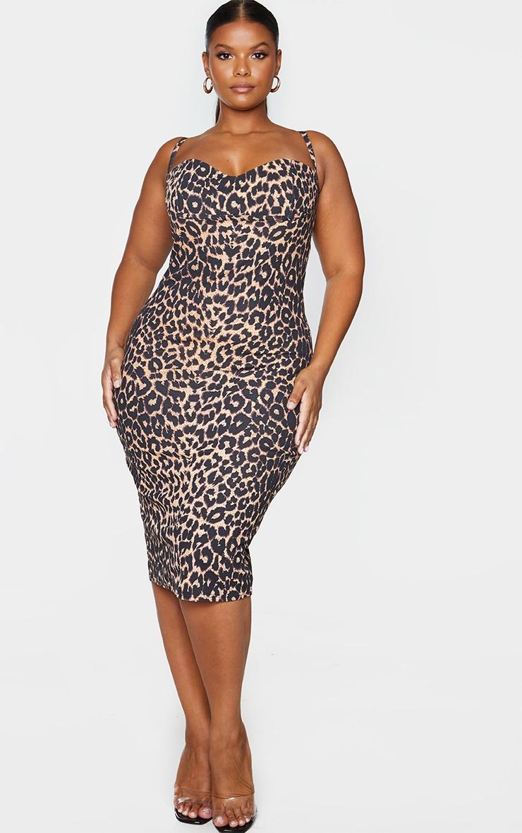 Plus Brown Leopard Print Strappy Cup Detail Midi Dress