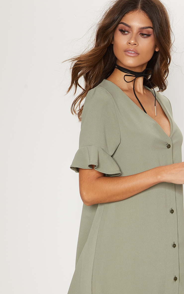 Khaki Button Through Frill Sleeve Shift Dress 5