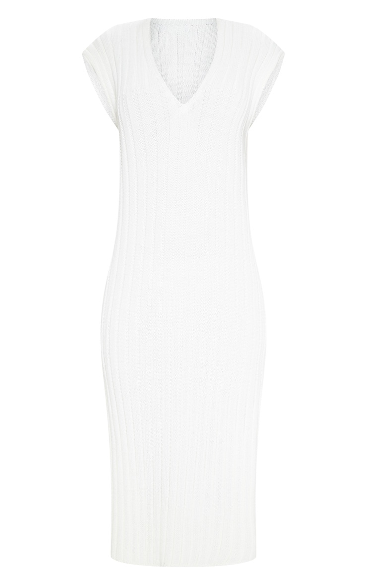 Cream Ribbed V Neck Midi Knitted Dress 3