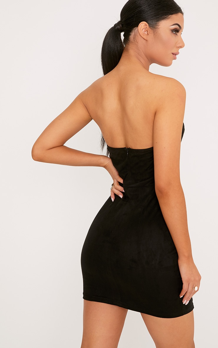Kianah Black Faux Suede Eyelet Detail Bandeau Bodycon Dress 2