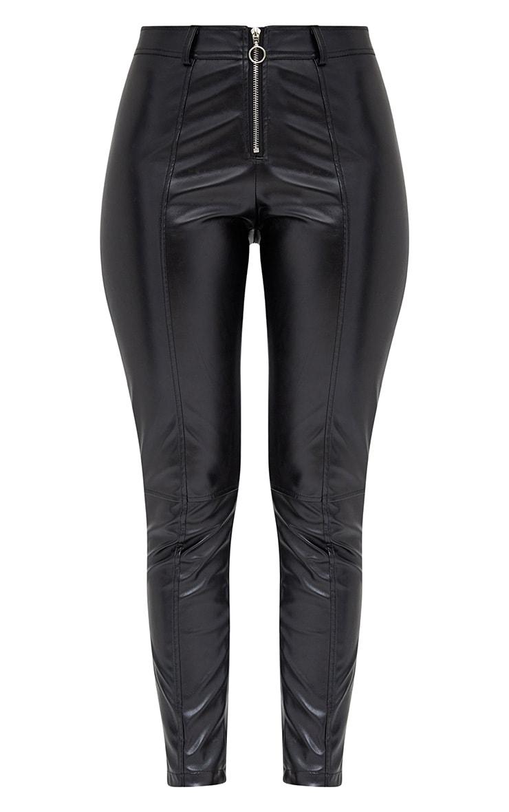 Black PU Zip Front Skinny Trousers 3