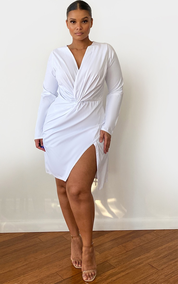 Plus White Woven Long Sleeve Wrap Dress 2