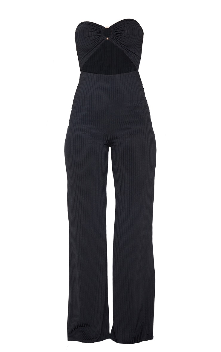 Black Ring Detail Bandeau Jumpsuit 3