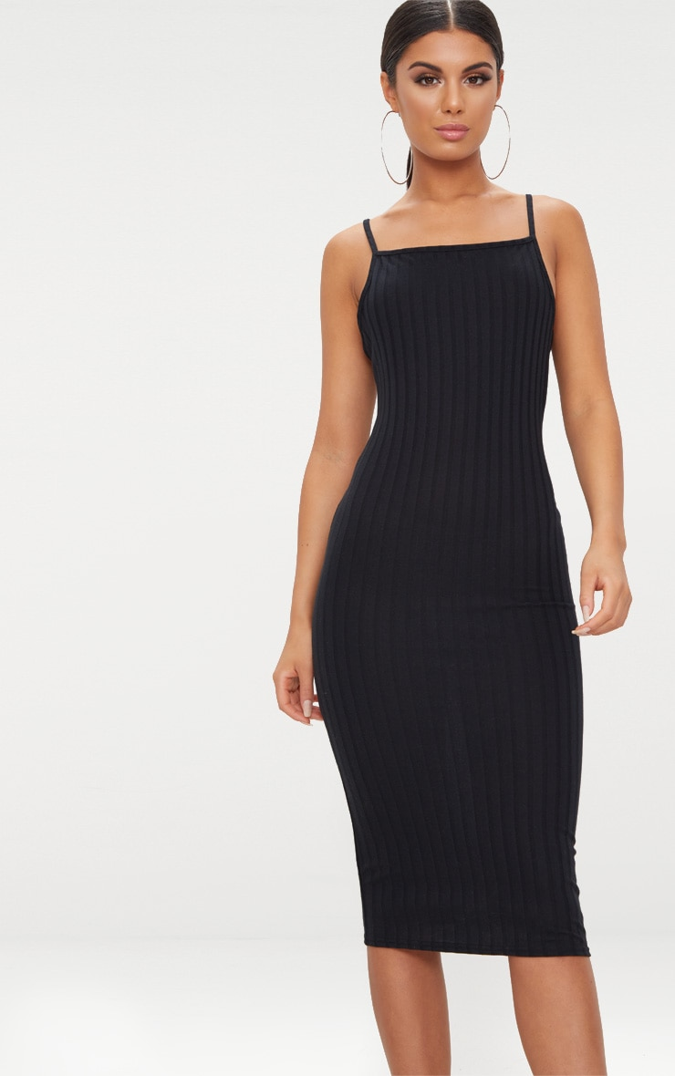 Black Straight Neck Rib Knit Midi Dress 4