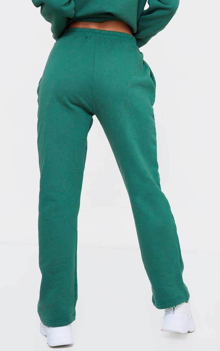 PRETTYLITTLETHING Forest Green Badge Detail Straight Leg Joggers 3