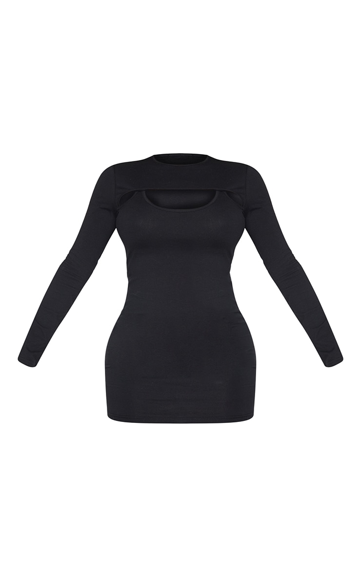 Recycled Shape Black Cotton Cut Out Long Sleeve Bodycon Dress 5