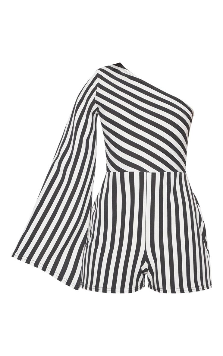 Monochrome Stripe One Shoulder Playsuit 3