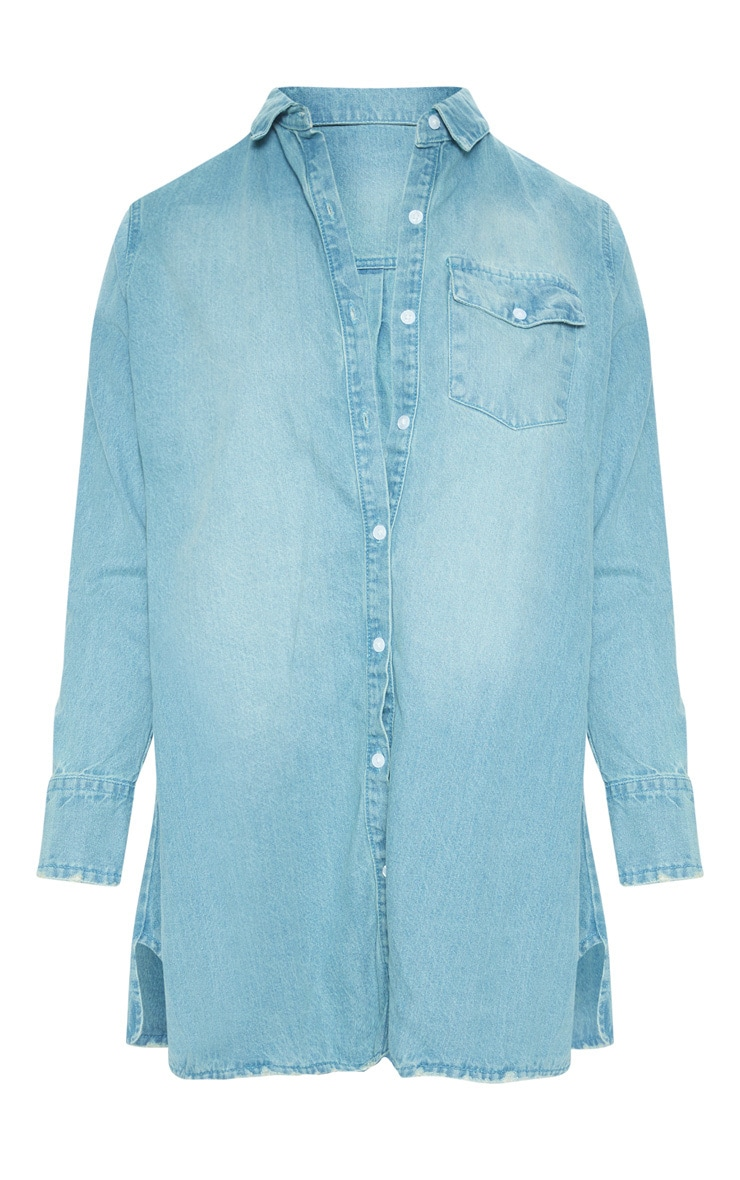 Plus Blue Oversized Denim Shirt Dress 3