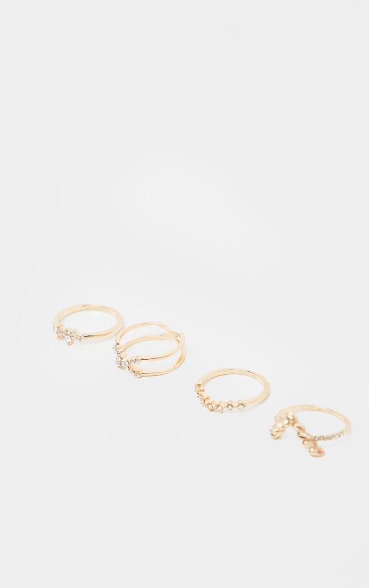 Gold Diamante Four Set Stacking Rings 3