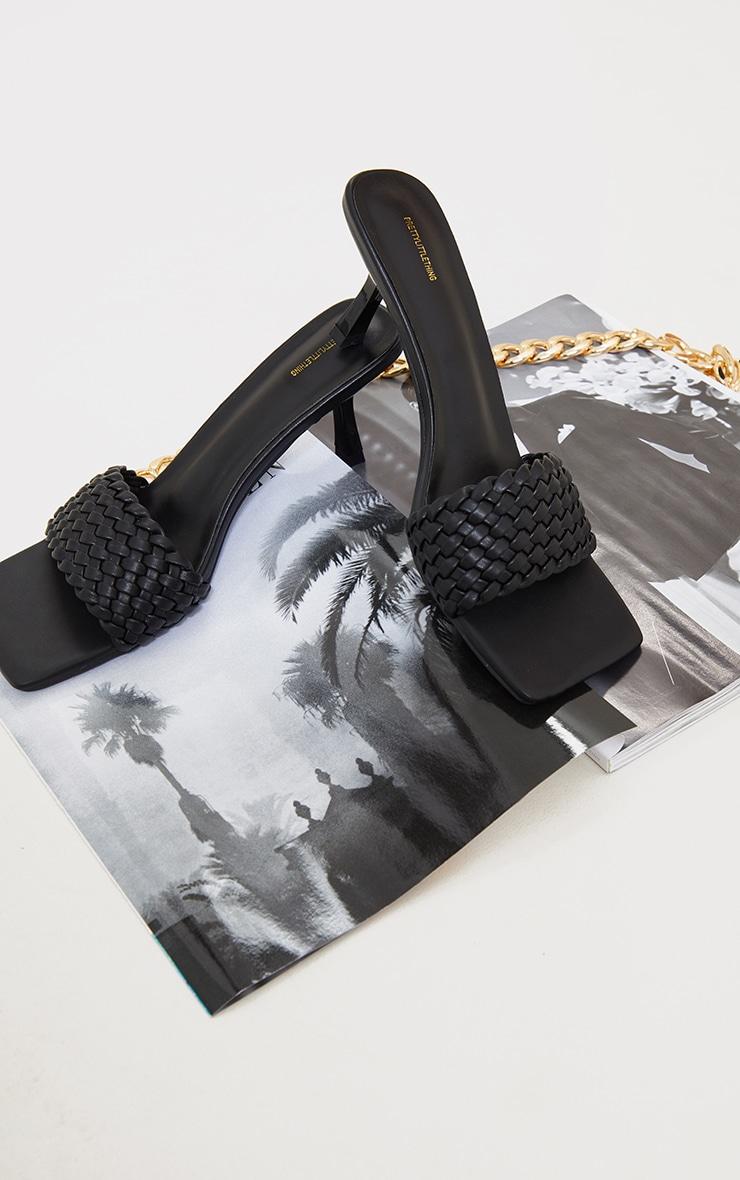 Black Woven Strap Square Toe Low Heel Mules 3