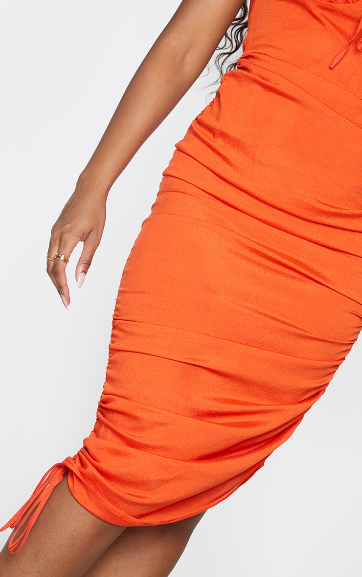 Orange Sleeveless Ruched Side Bust Detail Midi Dress 4