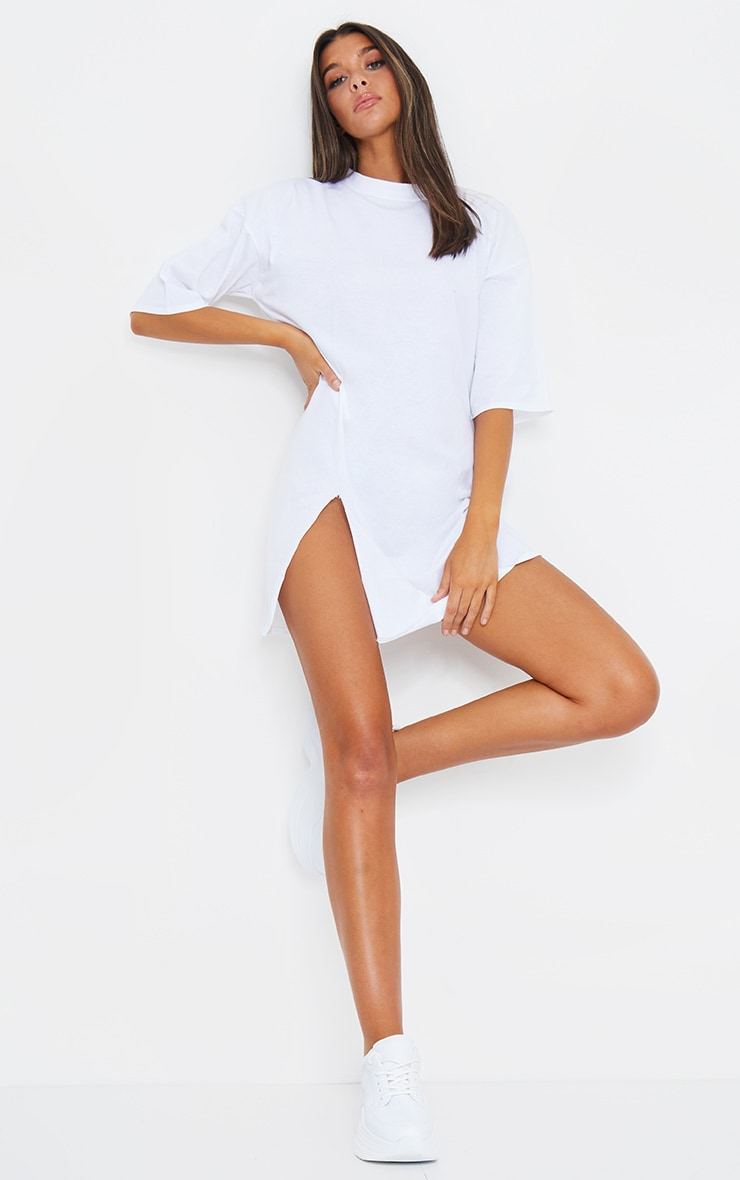 White Split Oversized Boyfriend T Shirt Dress 6