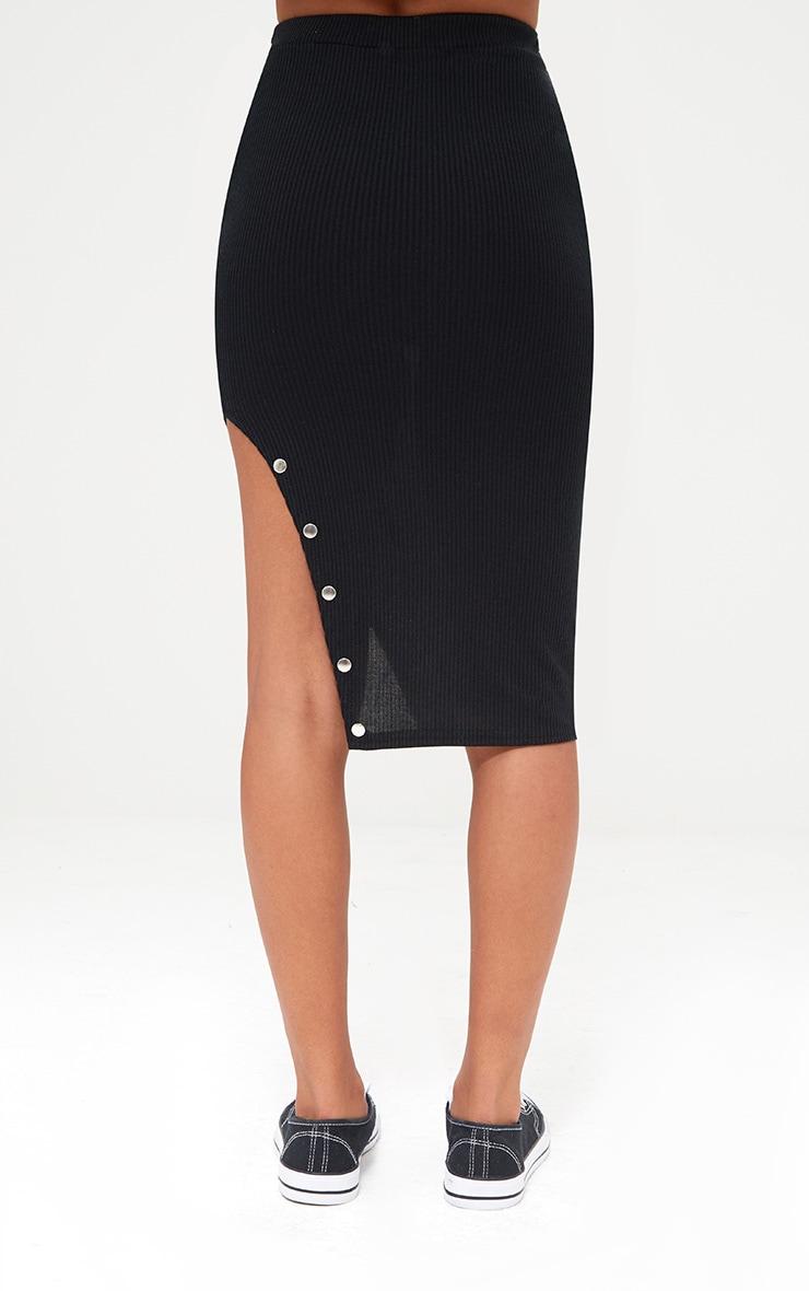 Petite Black Stud Detail Split Midi Skirt 4