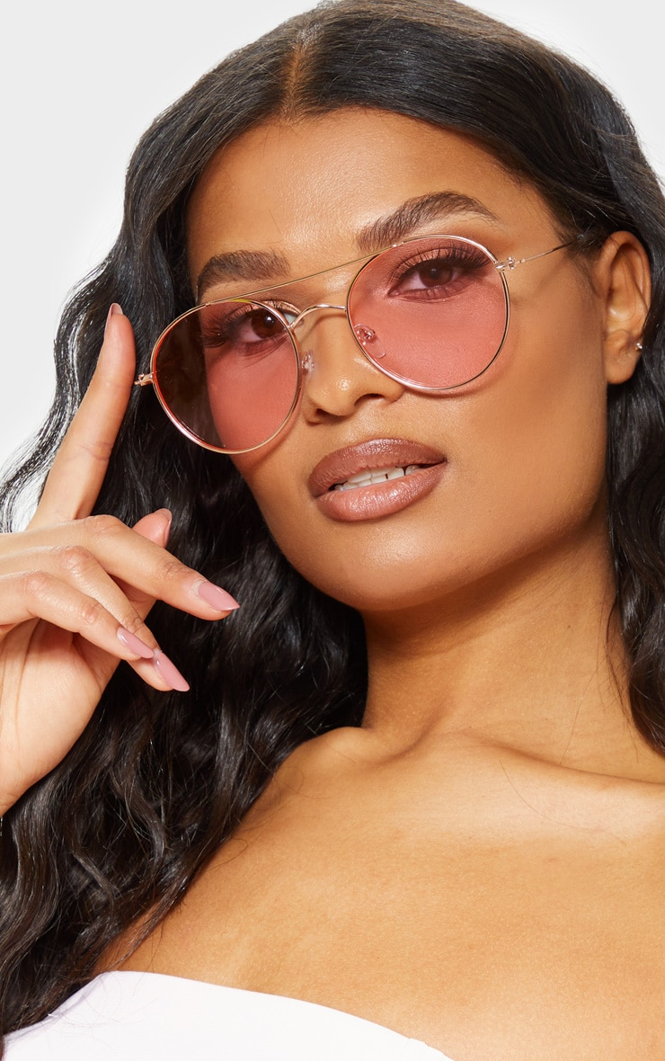 Pink Retro Round Aviator Sunglasses 1