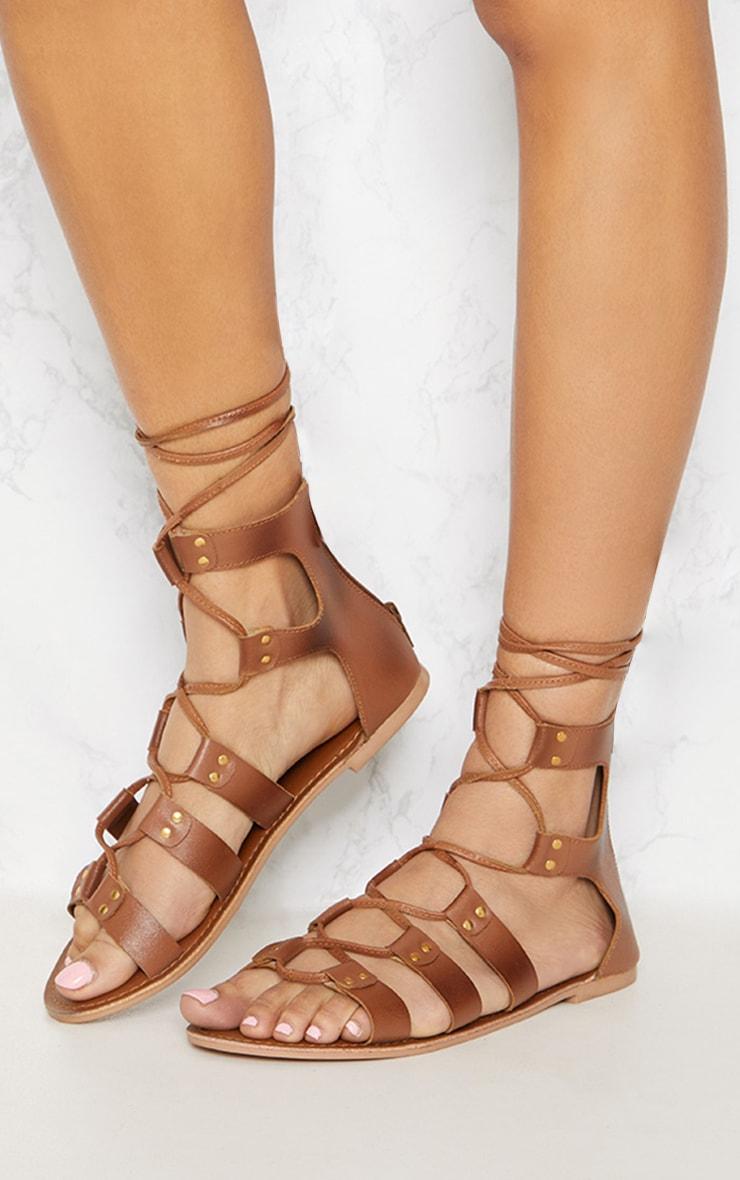 Tan Leather Ghillie Sandal 2