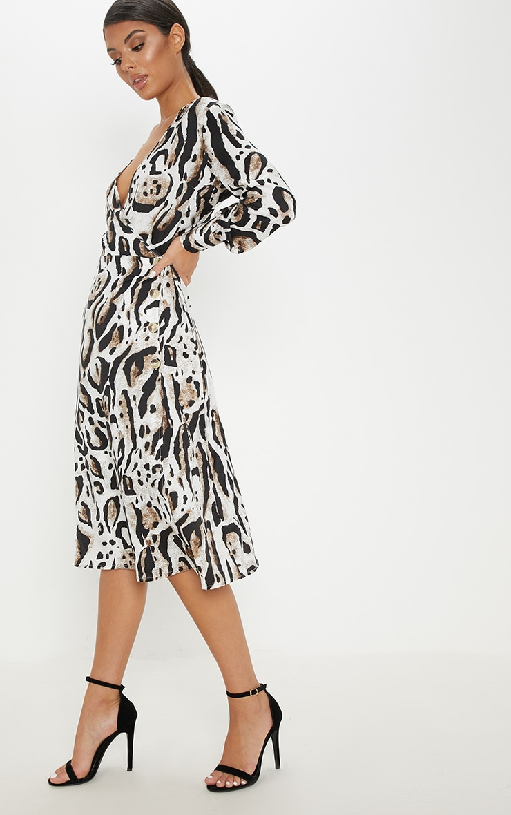Beige Leopard Print Wrap Frill Midi Tea Dress 4