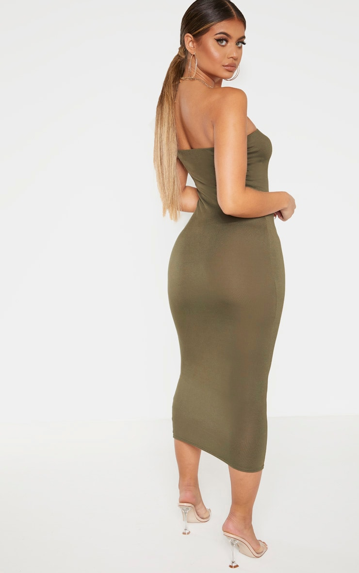 Khaki Bandeau Midaxi Dress 2