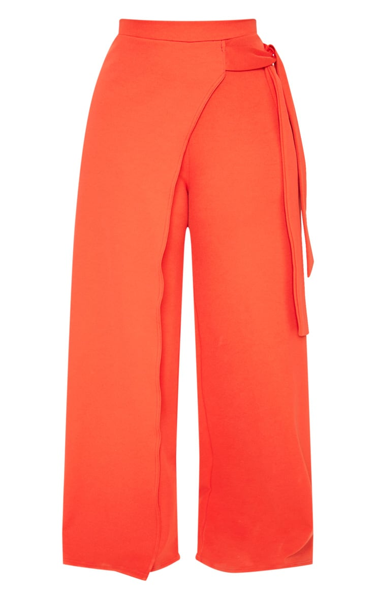 Plus Red Wrap Detail Extreme Wide Leg Trousers 3